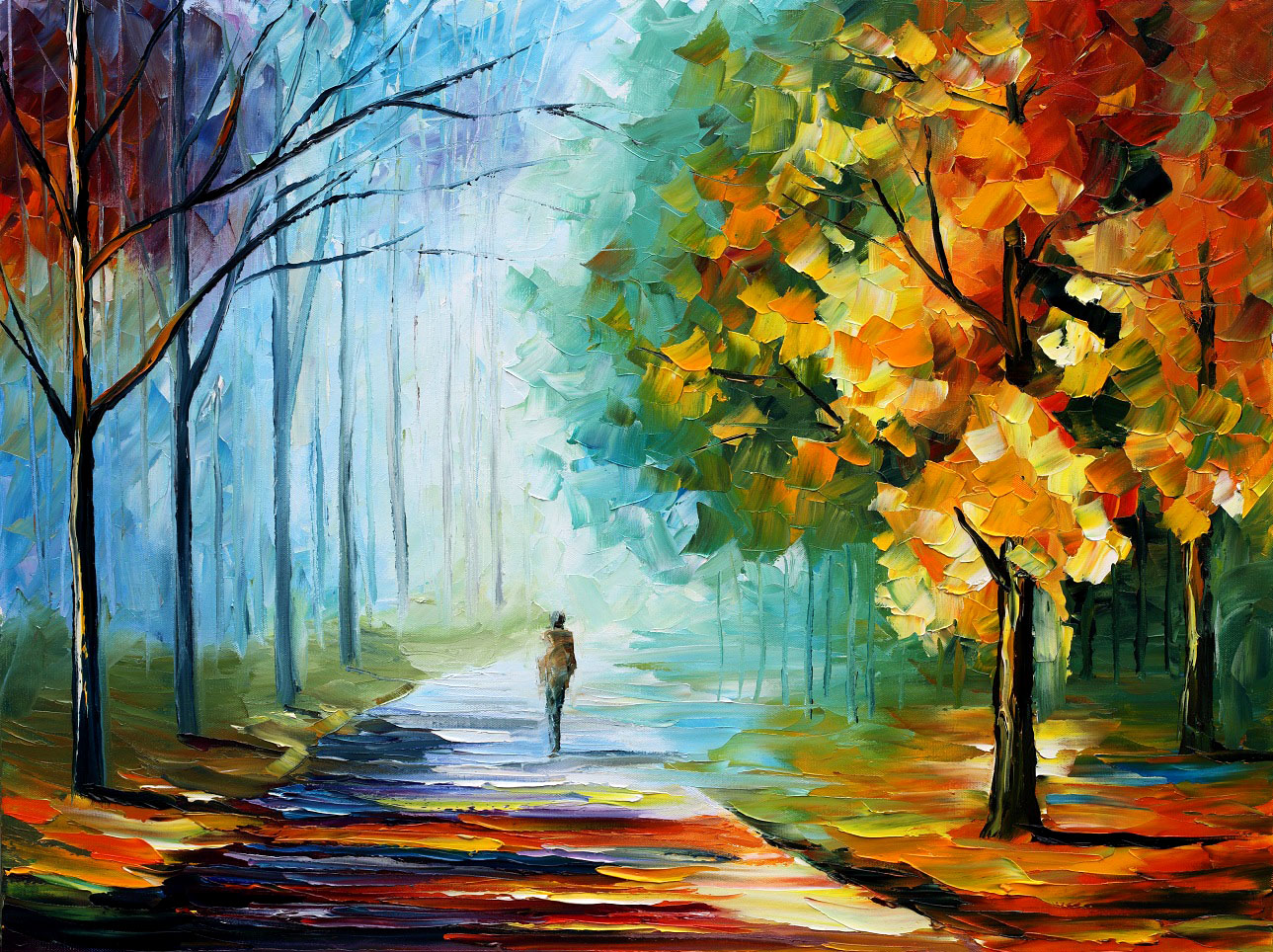 Painting of a lonely person walking alone along a path with colorful trees around
