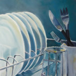 A painting of clean dishes