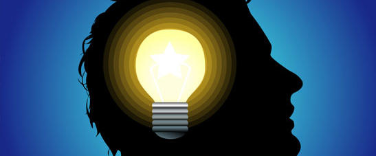 Lightbulb inside the silhouette of a man's head to represent the feeling of being stimulated that comes from modafinil